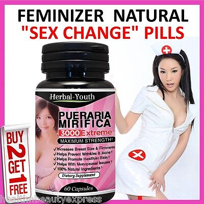 HERBAL FEMINIZER SEX CHANGE Capsules Female Hormone Estrogen Breast Enlargement