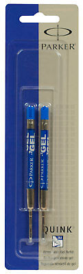 Parker Quink Retractable Gel Blue Ink Refills Medium 0.7mm Point 2pk