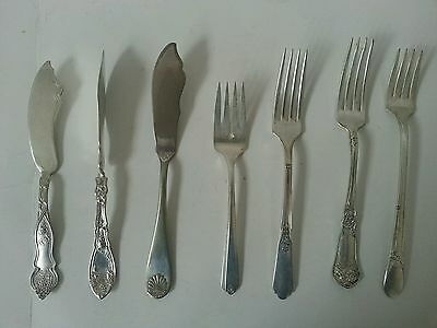Lot of (7) Silverplate Vintage Forks & Butter Knives-Used