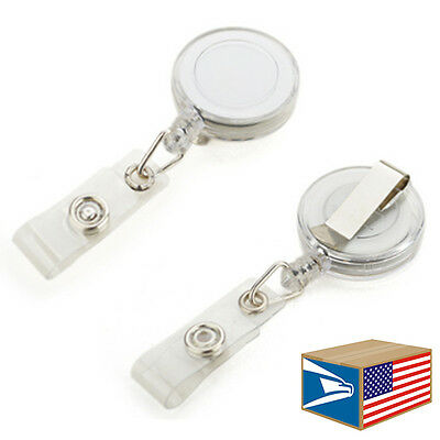 100 LOT White RETRACTABLE REEL ID BADGE HOLDER BELT CLIP KEYCHAIN KEY TAG NEW!