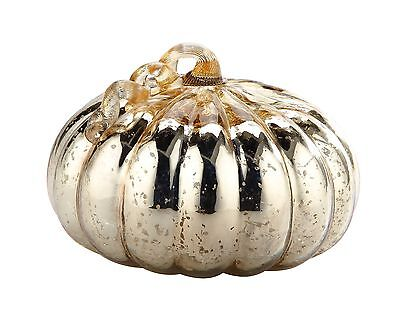 "New Large 11"" Hand Blown Art Glass Mercury Gold Pumpkin Sculpture Figurine Fall"