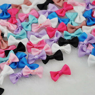 60pcs Small Satin Ribbon Bows Flower Appliques sew Craft Kid's cloth Lots A128