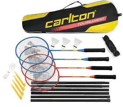 4 Player Complete Badminton Tournament Set - Rackets - Shuttles - Net and Post