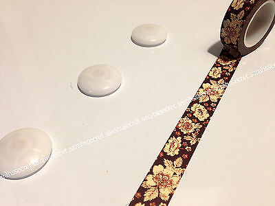 Japanese Washi Tape 15mmx10m Rose Autumn Fall Flowers #W2252