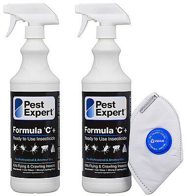 Flea Spray for Home and Carpets-Pest Expert Formula C 2X 1L (Free Mask & Gloves)