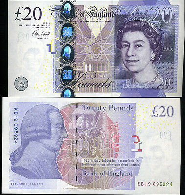 Great Britain England 20 Pounds Nd 2015 P 392 New Sign Victoria Unc