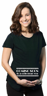 Women's Coming Soon Movie Maternity T Shirt Funny Pregnancy Tee