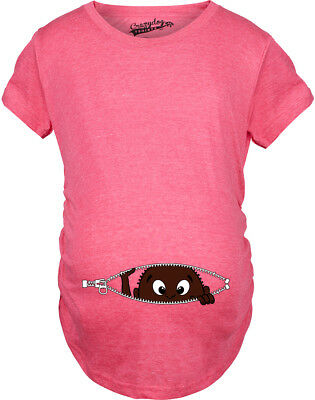 Women's African American Baby Peeking T Shirt Funny Maternity Tee (Heather Pink)