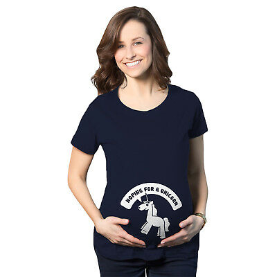 Women's Hoping For A Unicorn Maternity T Shirt Cute Funny Pregnancy Tee