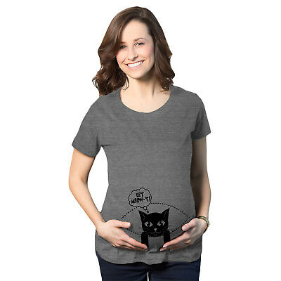 Womens Let Meow-T Maternity T Shirt Funny Cat Pregnancy Tee