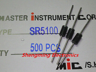 500pcs SR5100 100V 5A DO-15 schottky diode