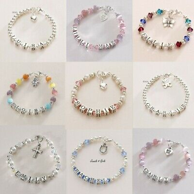 Sterling Silver Name Bracelets for Girls, Personalised Children's Jewellery.