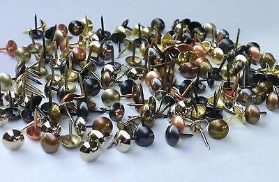 100 x UPHOLSTERY NAILS / STUDS / TACKS / PINS (Fourteen Finishes available)