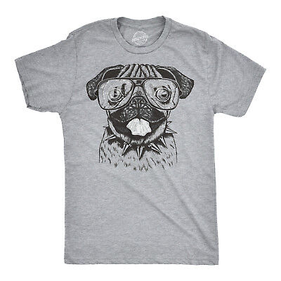 0575b0f8cb10 Mens Pug Wearing Glasses T-Shirt Funny Animal Tee with a Cute Dog (Heather