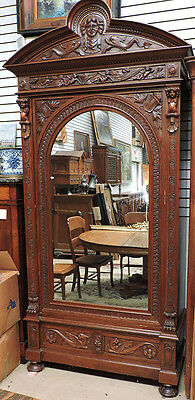 Antique Italian  Armoire Single MIrrored Door w Elaborate Carvings