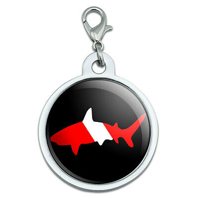 Shark Scuba Symbol on Black - Diver Dive Large Plated Metal Pet Dog Cat ID Tag