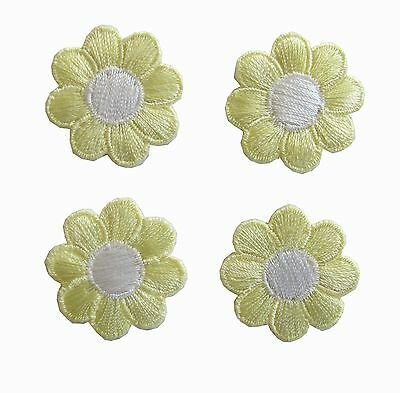 #2987Lot 4Pcs Spring Yellow White Daisy Flower Embroidery Iron On Applique Patch