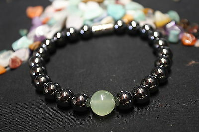 MAGNETIC HEALING HEMATITE/ NEW JADE Round Ball Natural Crystal Bracelet LIBRA
