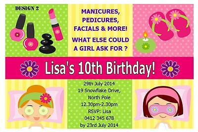 1 X PAMPER SPA PARTY GIRLS BIRTHDAY PERSONALISED INVITATIONS