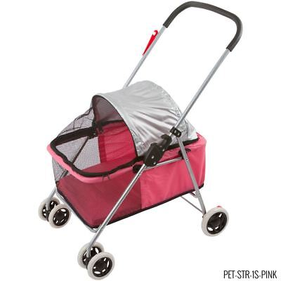 Small Pink Folding Pet Stroller Carrier for Small Dogs & Cats