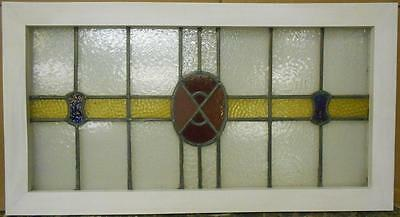"OLD ENGLISH LEADED STAINED GLASS WINDOW TRANSOM Abstract Band Design 39"" x 21"""