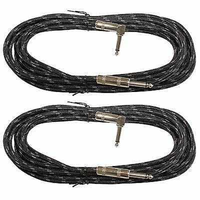 2 PACK BLACK woven tweed 18 ft right angle to straight 1/4 guitar patch cable