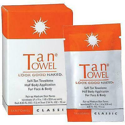 Tan Towel Self-Tan Towelette half body  Classic 10 PACK!!!