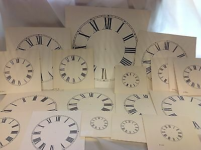 "~NEW~ 18 Assorted Paper Clock Dials-Off White Roman Numerals 2"" to 11"" (C-526)"