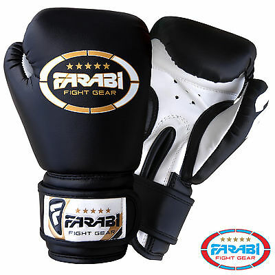 Farabi Kids Boxing Junior Mitts mma Synthetic Leather Sparring Gloves Black 4oz