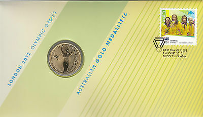 Coin Australia $1 proof Olympic Games London swimming PNC 2012 post office cover