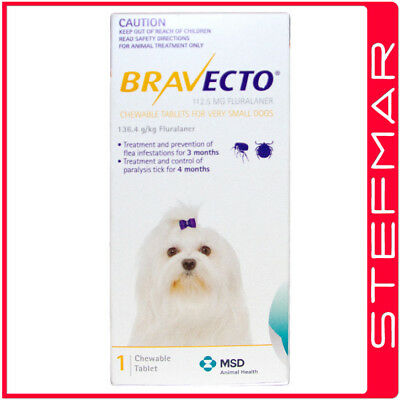Bravecto for Dogs Very Small 2-4.5kg 1Pk Chews