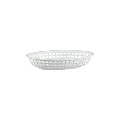 12 x White Plastic Bread Basket, Small Oval, Burgers / Fries / Cafe / Diner
