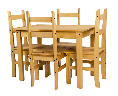 Corona Budget Dining Table and 4 Chairs Set Mexican Pine by Mercers Furniture®