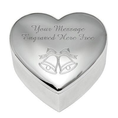 Personalised Engraved Heart Shape Silver Plated Wedding Trinket Box Message Logo