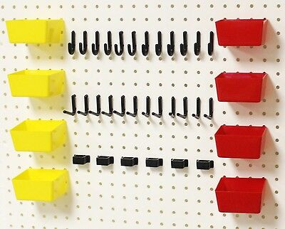 WallPeg Pro 100 Peg Hook Kit, Plastic Bins & Flex-Lock Pegboard Hooks 38RYBX
