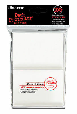 100ct White Standard Deck Protector Card Sleeves Pokemon MTG Sports + Ultra Pro