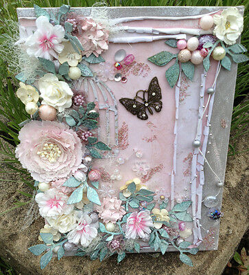 'Feeling Pretty' Mixed Media Canvas - Approx 9 x 12 inches - Free P&P
