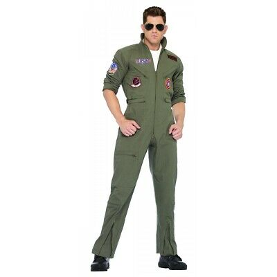 Top Gun Costume Flight Suit Navy Military Pilot Halloween Fancy Dress