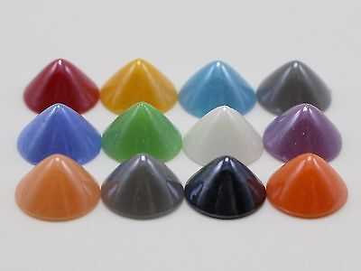 100 Mixed Color Round Pyramid Flatback Glass Cabochon Ceramic Half Pearl 10X6mm