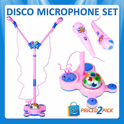 Kids Childrens Singing Play 2 Person Microphone Stand with Music Drum Beat Toy