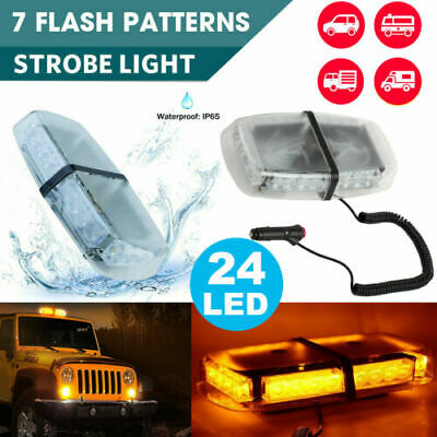 24 LED Amber Car Strobe Light Emergency Flashing Bar Magnetic Hazard Beacon