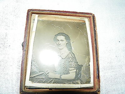 Antique ambrotype glass photo in 1/2 case, Civil War era, lovely lady