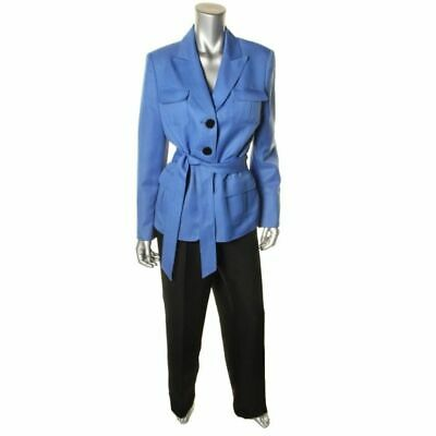 Womens Size M 12 2 Piece Lined Quality Le Suit Jacket Blazer Pants Blue Black