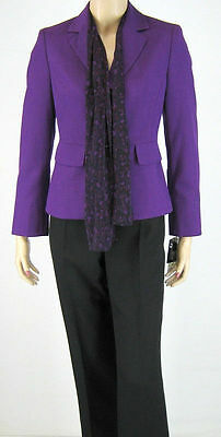 Womens Size L 14 2 Piece Lined Quality Le Suit Jacket Blazer Pants Purple Black