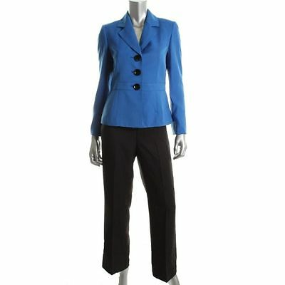 Womens Size L 14 2 Piece Lined Quality Le Suit Jacket Blazer Pants Blue Black