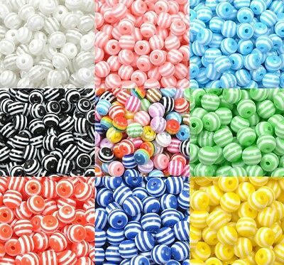 Lots ZEBRA & STRIPE ACRYLIC Round Spacer BEADS - Choose 6MM 8MM 10MM 12MM 14MM