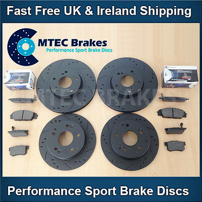Civic 2.0 Type-R EP3 01-05 Front Rear DrilledGrooved Black Brake Discs MTEC Pads
