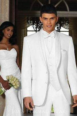 2016 White Groom Tuxedos Lapel Best Man Groomsmen Men Wedding Suits Bridegroom