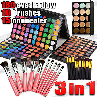 New 10pcs Makeup Brush Set + 180 Color Eyeshadow Palette + 15 Concealer Kit