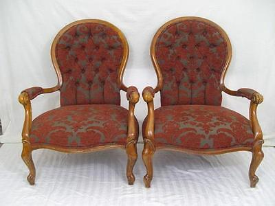 A Good Sized Vintage Pair Of Open Armchairs In The Antique Manner